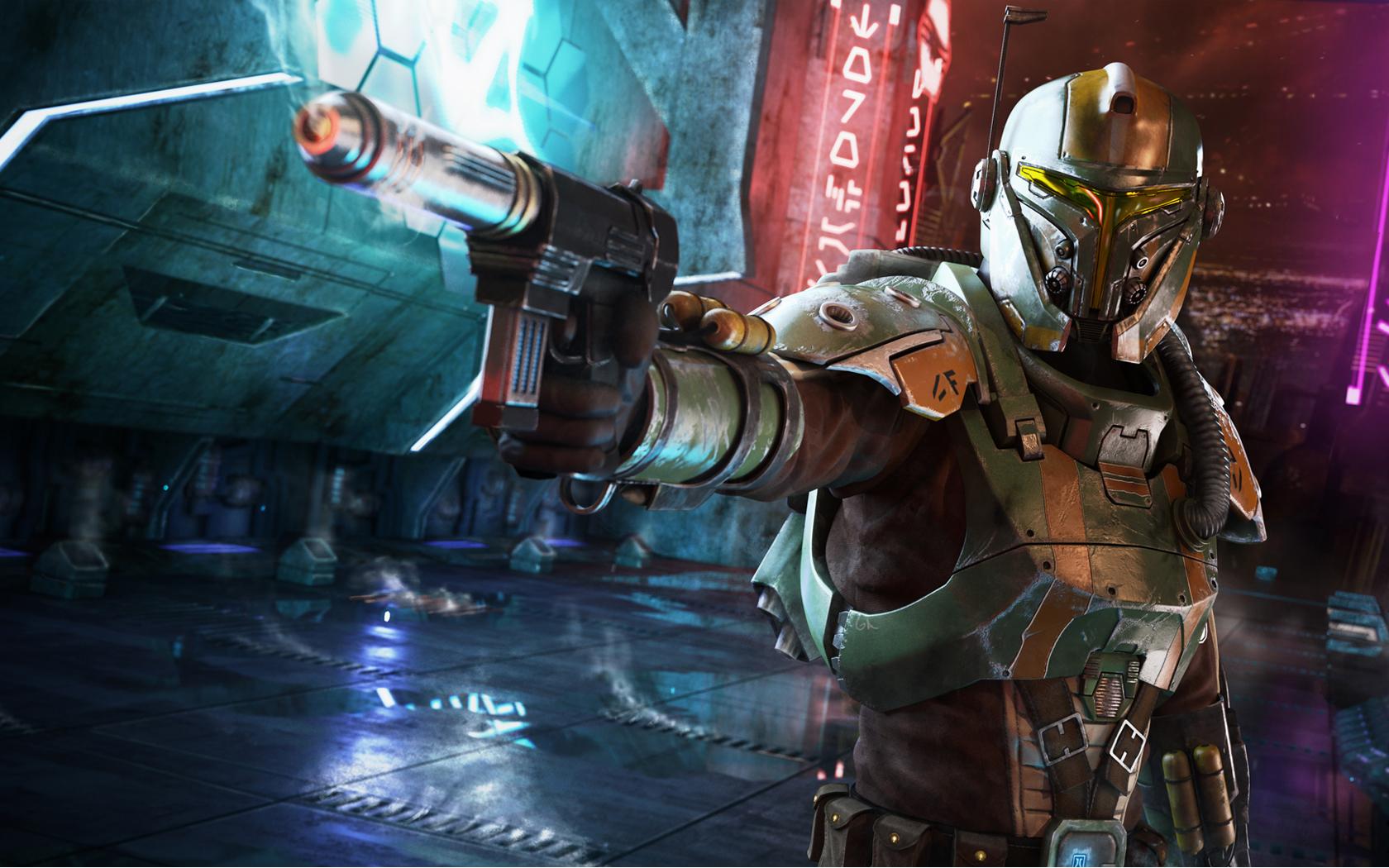 swtor wallpaper bounty hunter shows us a bounty hunter