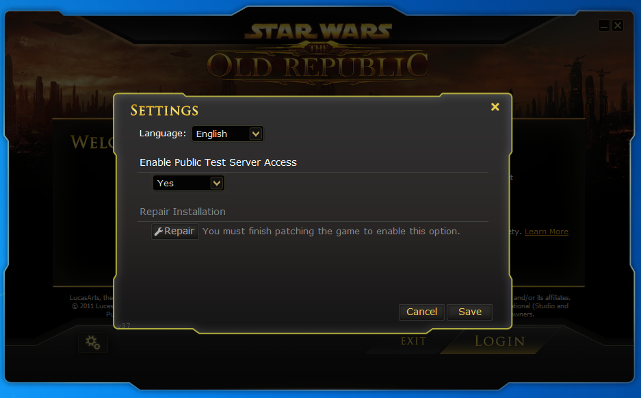 Star Wars: The Old Republic Launcher showing the Public Test Server option